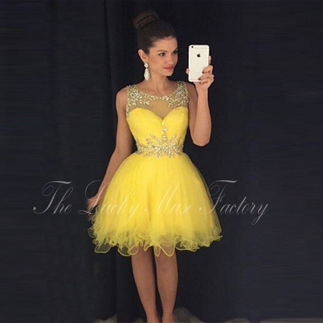 5f37640eb8e Vestidos De Fiesta Cortos Elegantes 2017 Sheer Neck Crystals Beading A Line  Tulle Yellow Ever Pretty Cheap Short Party Dresses