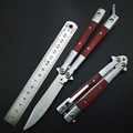 Инструменты для тренировок с бабочками без края  острый Тактический тренировочный нож  красная и черная деревянная ручка  Покрытие оболочк...