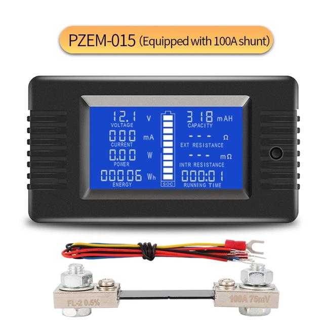Peacefair Tester baterii rozładowania pojemności, moc amperomierz woltomierz licznik energii impedancja odporność PZEM 015 200v 100A bocznik