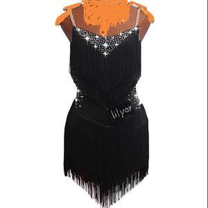 Image 4 - Vestidos de baile latino para mujer, encaje negro, fiesta, bailarín, cantante, entretenimiento, flecos, borla, negro, DM1034, 2020