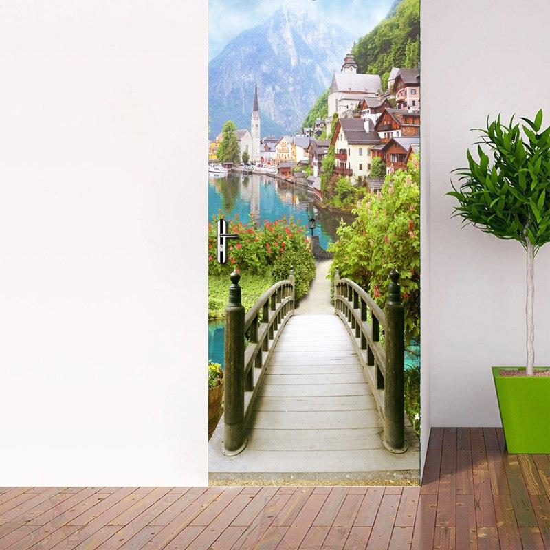 European Wooden Bridge Ancient Town Scenery Door Stickers 3D Wallpaper Living Room Bedroom PVC Waterproof Door Stickers 3D Mural Herbal Products cb5feb1b7314637725a2e7: Multi
