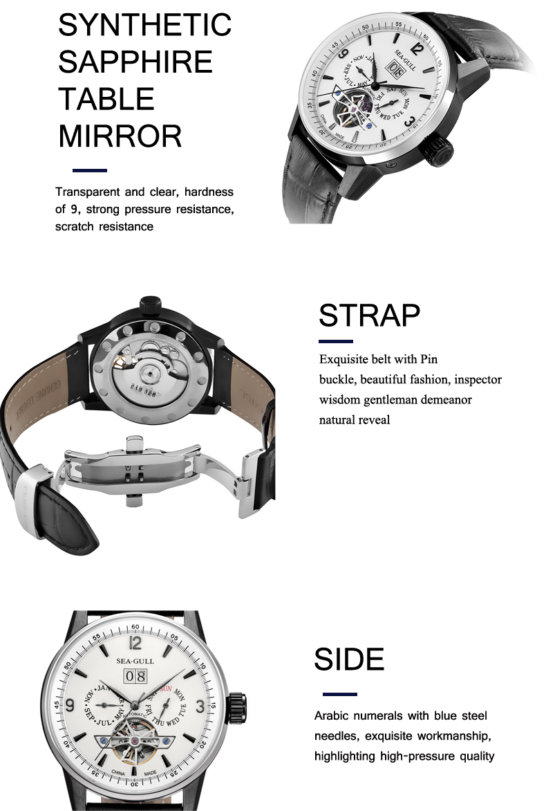 Seagull relógio masculino automático, mecânico, 219.328, auto
