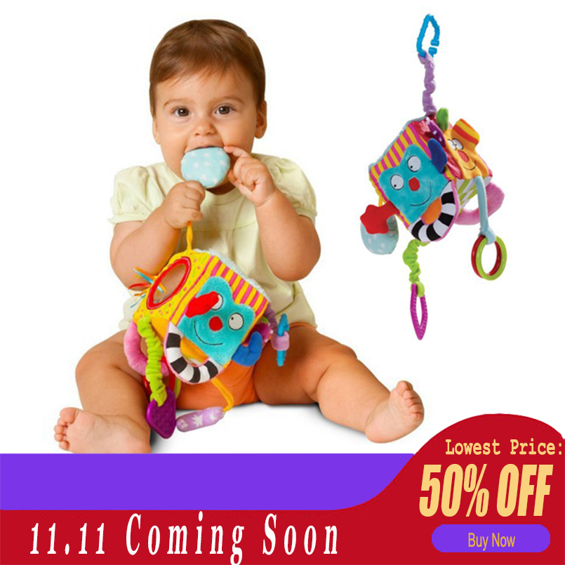 New Baby Mobile Baby Toy Plush Block Clutch Cube Rattles Early Newborn Baby Educational Development Toys 0-12 Months For Kids