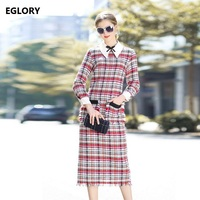 2017 Winter Dress High Quality Womens White Turn Down Collar Colorful Plaid Wool Bow Tie Midi