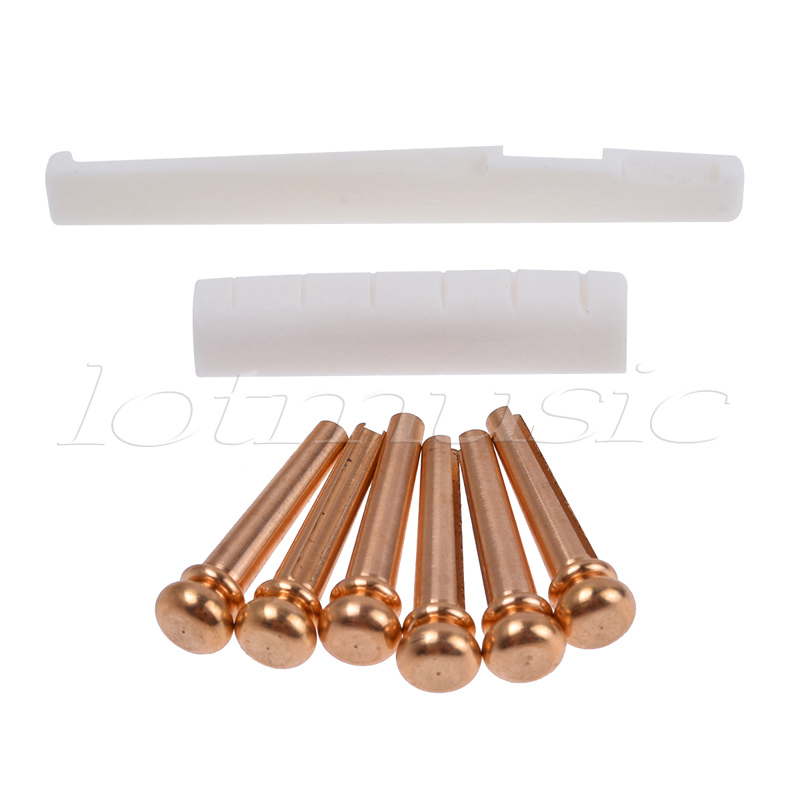 6pcs Brass Bridge Pins Cattle With Bone Saddle Nut Slotted Set for Acoustic Guitar Parts djs6 acoustic guitar bridge pins set golden 6 pcs