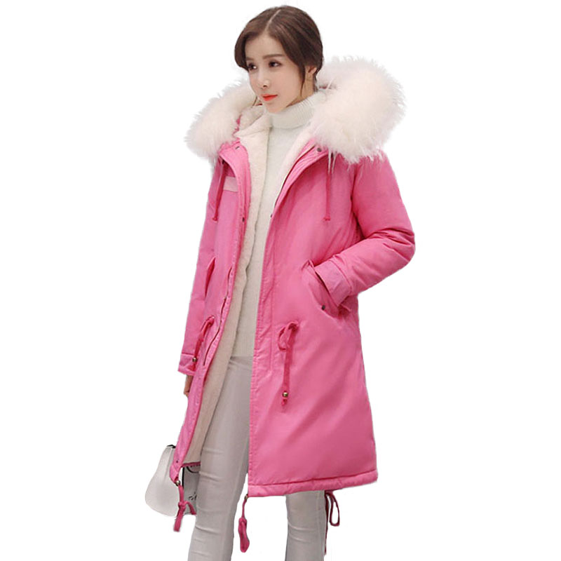 Parka Jacket Winter Women 2017 Fashion Ladies Quilted Coat Hooded Fur Collar Thicken Warm Fleece White Duck Down Outwear Parkas snowka down parka winter jacket women 2016 famous brand white down jacket thicken women coat warm hooded outwear belt silm parka