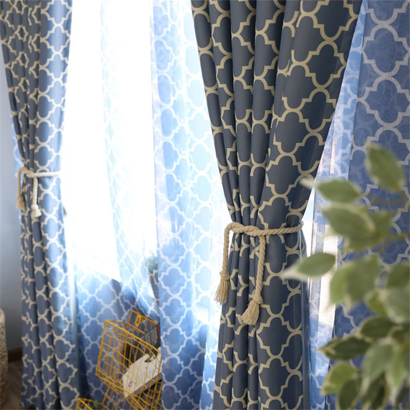 {byetee} Blackout Curtains For Living Room Bedroom Sheer Curtain Window Cortinas Blue Green Color Blinds Customized Drapes