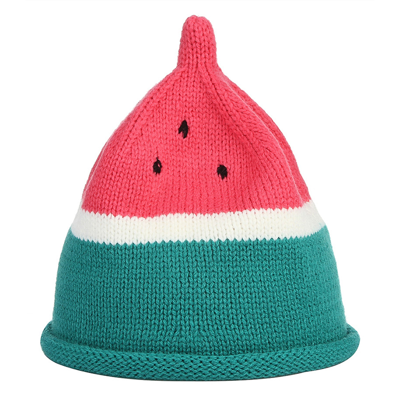 Cute Watermelon Shape Knitted Hat For Children Kids Winter Warm Hats Baby Girls Boys Beanies Caps baby handmade warm knit hat boys and girls watermelon seed cap children autumn and winter cute fruit hedge wool hat beanies