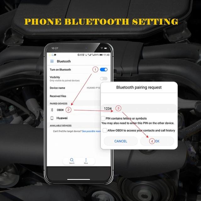 OBD2 II ELM327 V1.5 Bluetooth Car ELM 327 OBD Scanner Auto Code Reader Scan Diagnostic Tool Automotive Multifunction AUTOOL A5