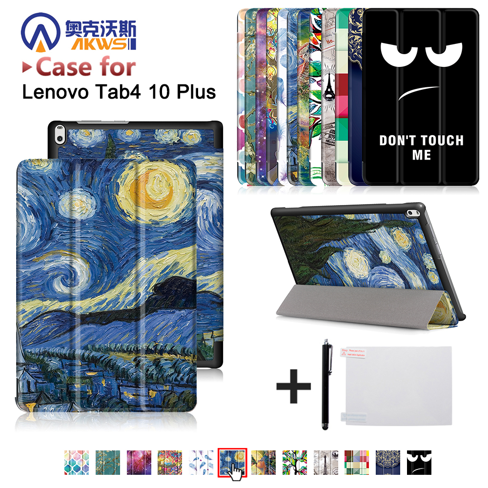 Slim magnetic cover case For Lenovo TAB 4 10 Plus TB-X704N TB-X704F Tablet (2017 released) protective cover skin case+free gift new slim folio bracket for lenovo a7 20f standing tablet cover for lenovo tab 2 a7 20 flip protective tablet case