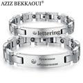 AZIZ BEKKAOUI Health Stone Bracelet Engrave Named ID Bracelet Couple Bracelet Men's Magnetic Stainless Steel Bracelets & Bangles