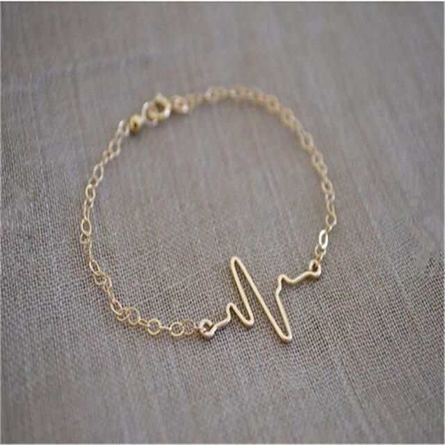 Hot Ing Personalized Ecg Heartbeat Bracelet Jewelry Jumping Heart Shining Female