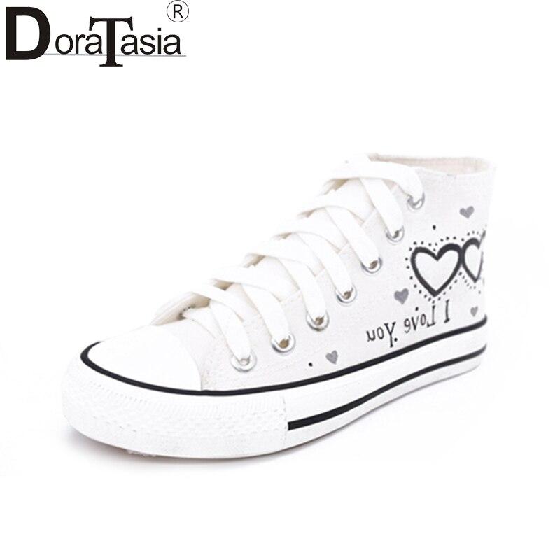DoraTasia 2018 Fashion Vulcanized Hand-painted Shoes Woman Lace Up Wholesale Sneaker Woman Shoes Women Plus Size 35-45