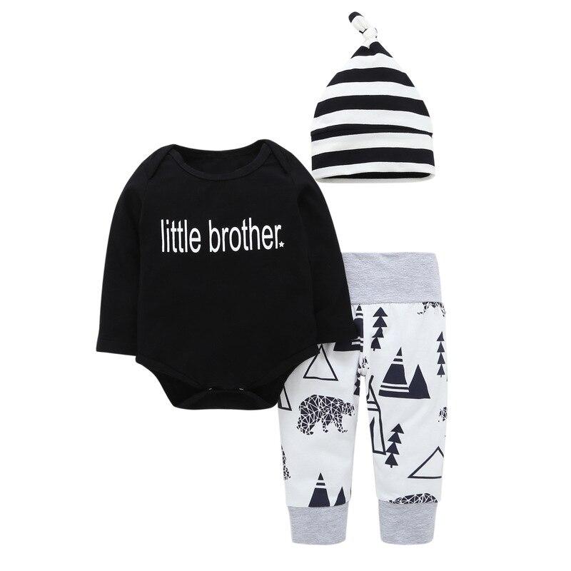 Fashion Infant Set Autumn Newborn Baby Boys Clothes Letter Romper + Pants Hat Cotton Baby Clothes