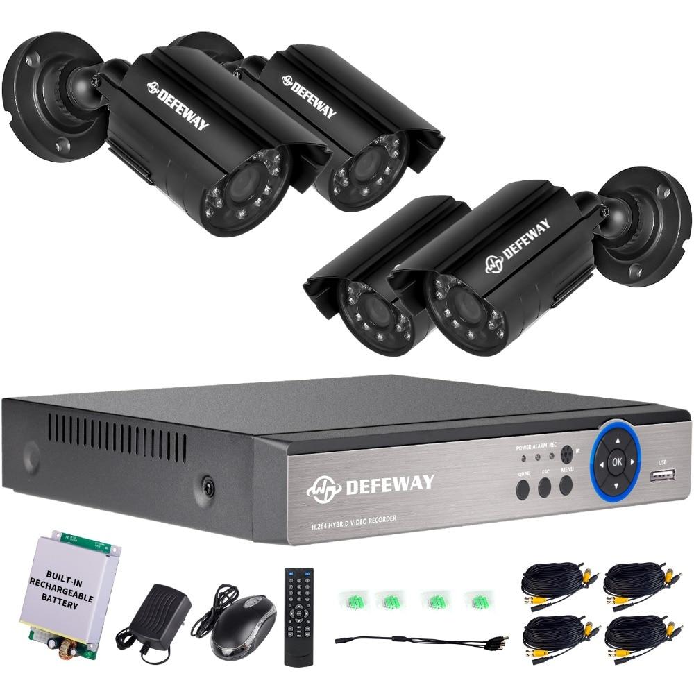 DEFEWAY 4CH 1080N HD CCTV System HDMI Output DVR 4pcs 720P 1200TVL CCTV Security Camera weatherproof with Emergency battery