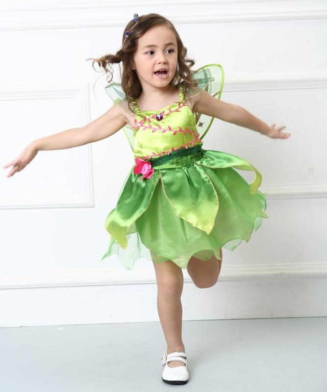 Ragazza Carina Fiore Verde Fata Trilli Costume Giornata dei bambini Festa di Famiglia Tinkerbell Cosplay Fancy Dress