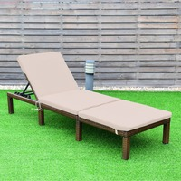 Giantex Adjustable Chaise Lounge Chair 4 Position Patio Outdoor Wicker Rattan Cushion Outdoor Furniture HW58523