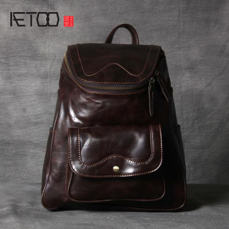 AETOO Women Original handmade first layer of leather shoulder bag fashion retro backpack casual leather oil wax aetoo retro shoulder bag genuine handmade men women casual travel backpack large capacity first layer leather