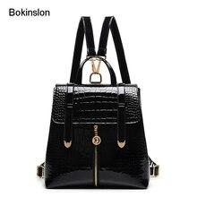 Bokinslon рюкзак Для женщин S школ модная лакированная кожа рюкзак Для женщин Повседневное Аллигатор полосой рюкзак Для женщин бренд