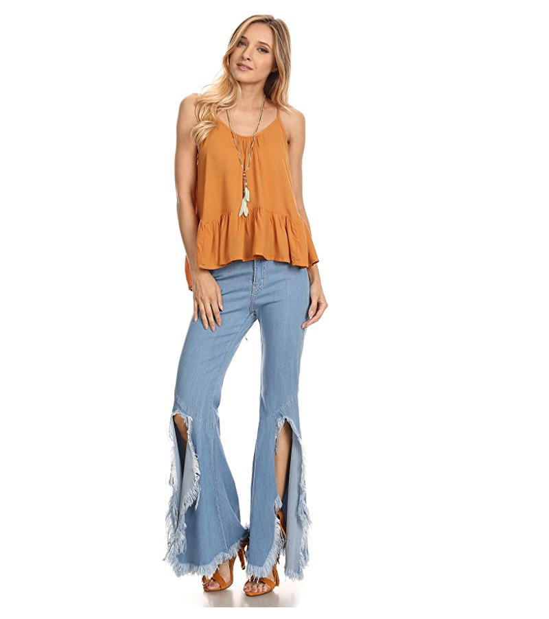 New on sale in Europe and the female fashion sexy flares hole tassel irregular jeans free