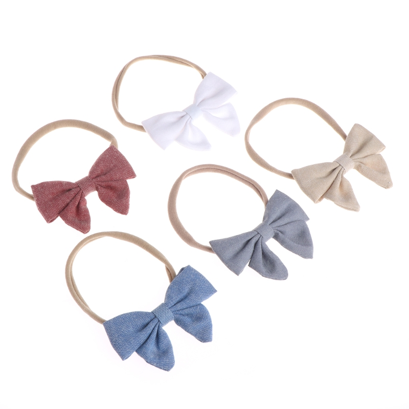 Fashion 5pcs/lot 5colors Handmade Newborn Kids Bow Nylon Headbands Soft Elastic   Headwear   APR13