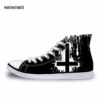 INSTANTARTS Classic Mens High Top Vulcanize Shoes Cool Heavy Metal Rock Casual Male Canvas Shoes Lace