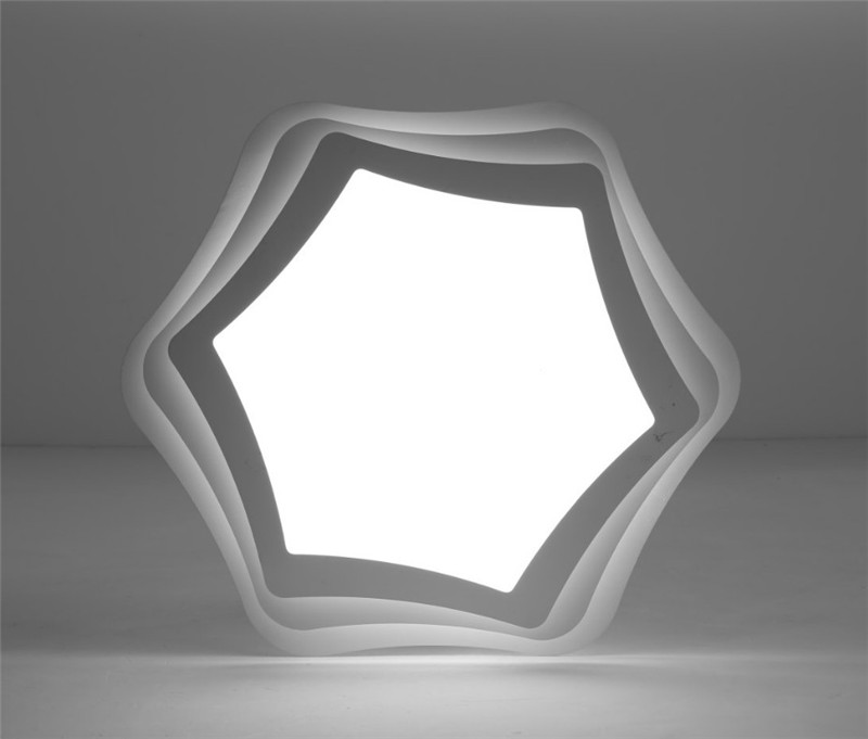 White Wrought Iron Frame Acrylic Shade Led Ceiling Light Hexgon Star Shape Ceiling Lamp Fixture for living room bedroom kitchen
