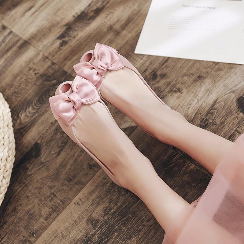 da875d2383 US $15.4 |2018 Women Jelly Shoes Female Cute Bow Plastic Flat Shoes Lady  Peep Toe Beach Shoes Women Rain Footwear-in Women's Flats from Shoes on ...