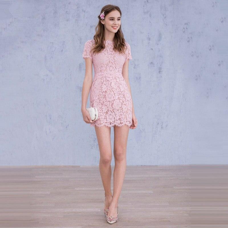 Vestidos de encaje cortos color rosa