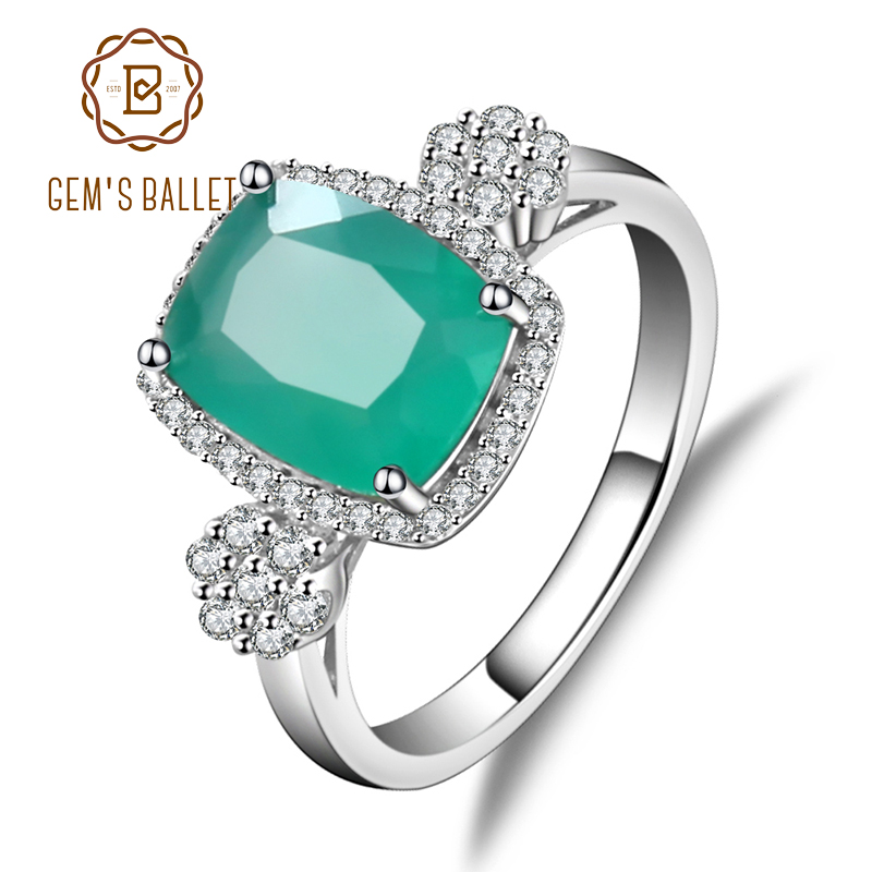 GEM'S BALLET Solid 925 Sterling Silver Green Agate Gemstone Rings Vintage Shiny Classic Engagement Wedding Rings Fine Jewelry