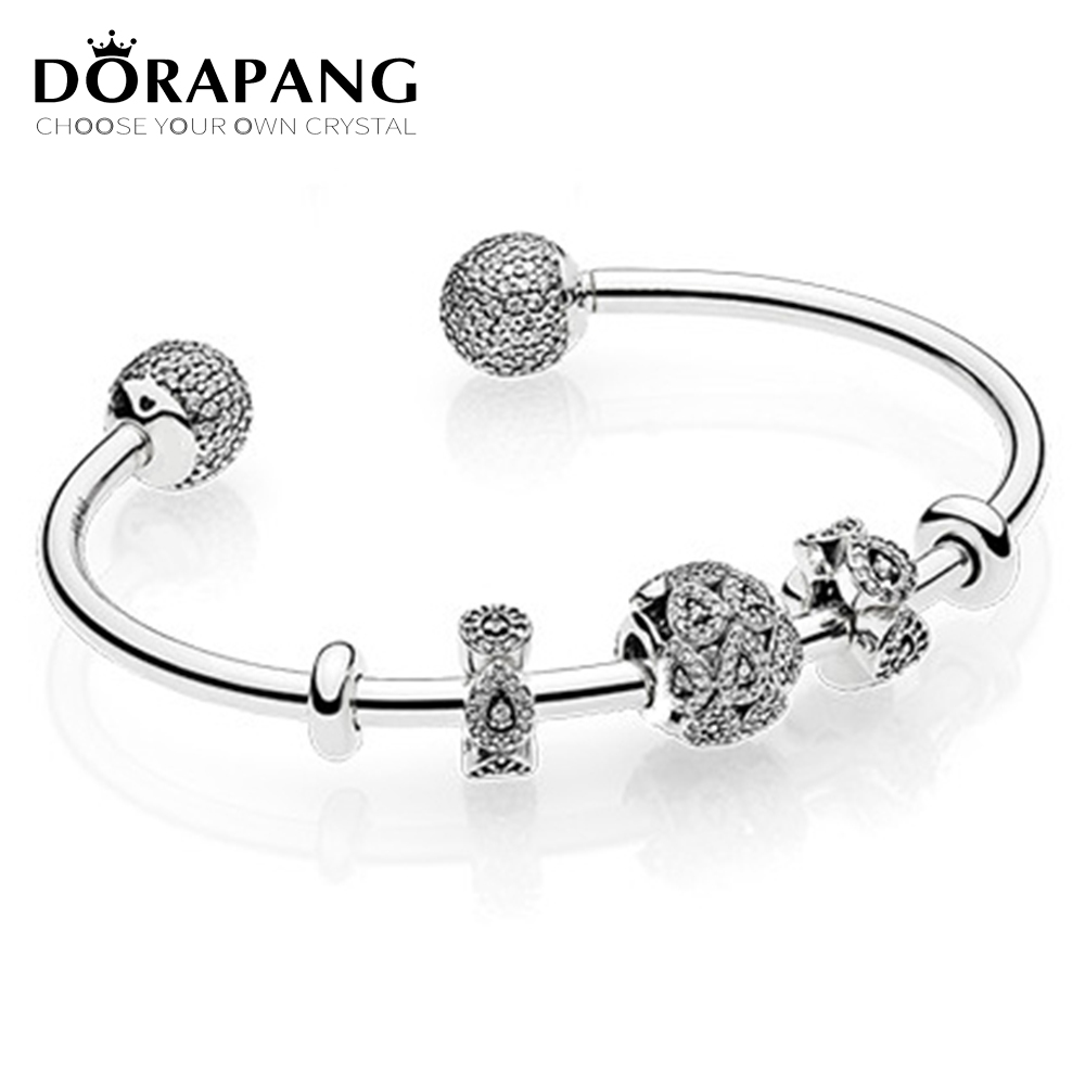 DORAPANG 2017 NEWEST 925 Sterling Silver Open bracelet suits Clear CZ Charm Bead fit Bracelet DIY bracelet For Women Jewelry 925 sterling silver cz by the yard anklet bracelet 10