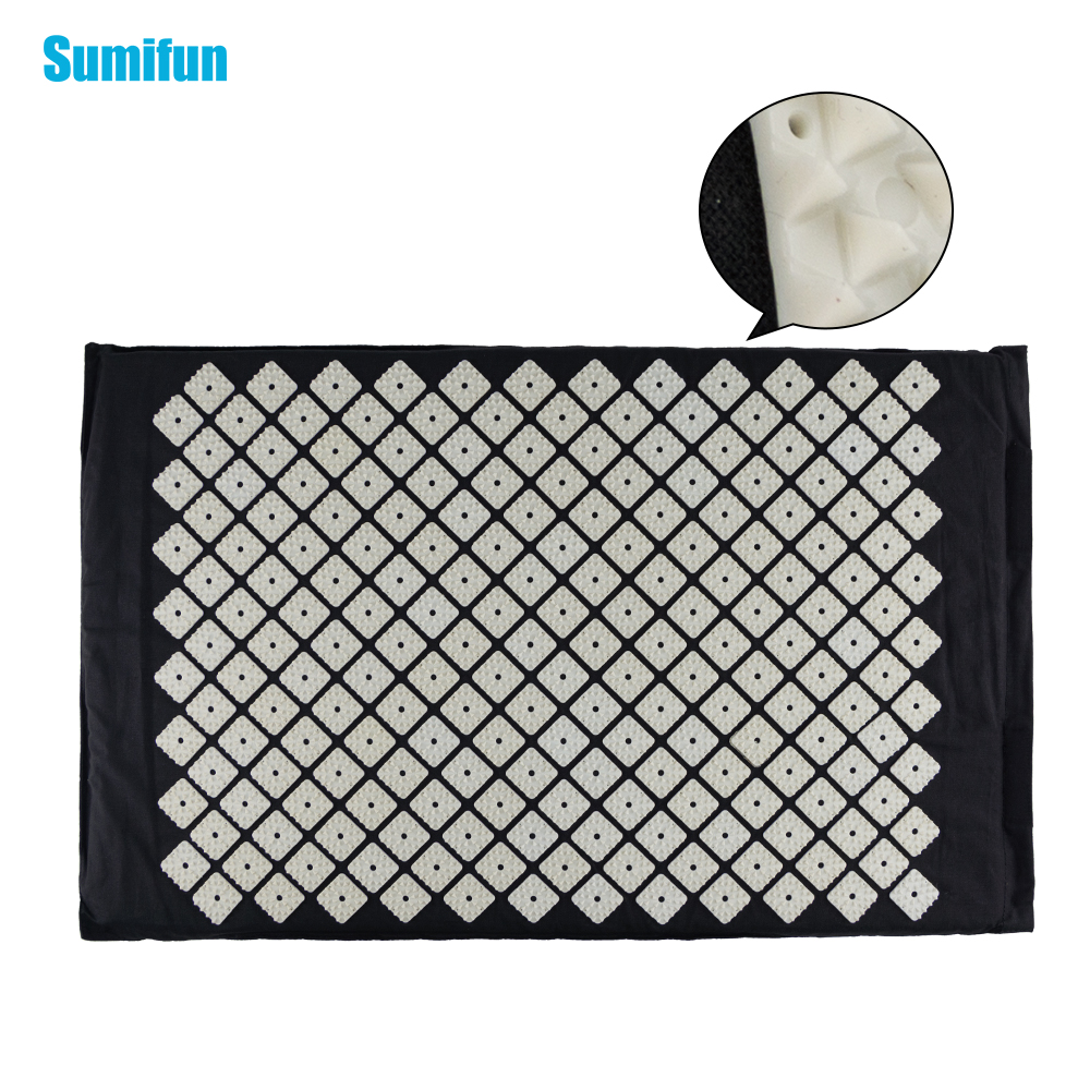 Sumifun Chinese Acupressure Therapy Cushion Massage Mat Set Relieve Stress Pain Acupuncture Spike Yoga Mat Health Black  C1192 povihome 1set massage cushion acupressure therapy mat relieve stress pain relief acupuncture spike yoga mat with pillow d06874