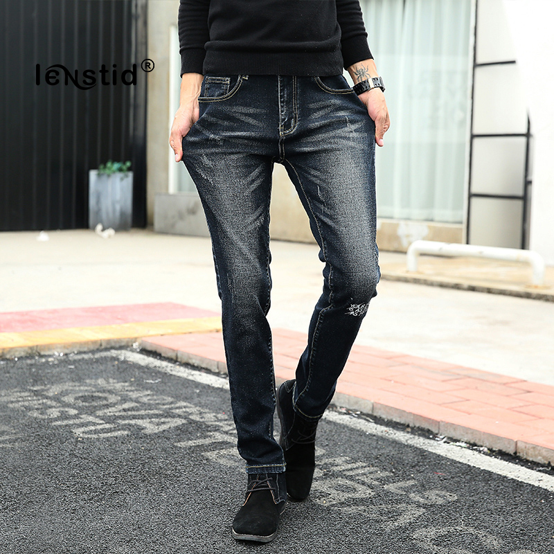 LENSTID Men Jeans Casual Spring Summer Jeans Straight Slim Fit Youth Printed Jeans Stretch Denim High Quality Pants Trousers