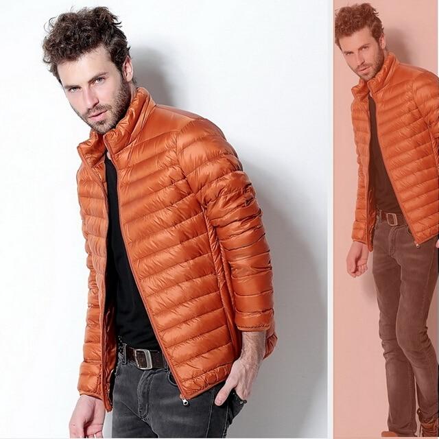 2015 Ünlü Marka erkek Kış Aşağı Parka Ceketler % 90% Ördek Aşağı Standı Yaka Spor Aşağı Ceket Rahat S-3XL 7 renk