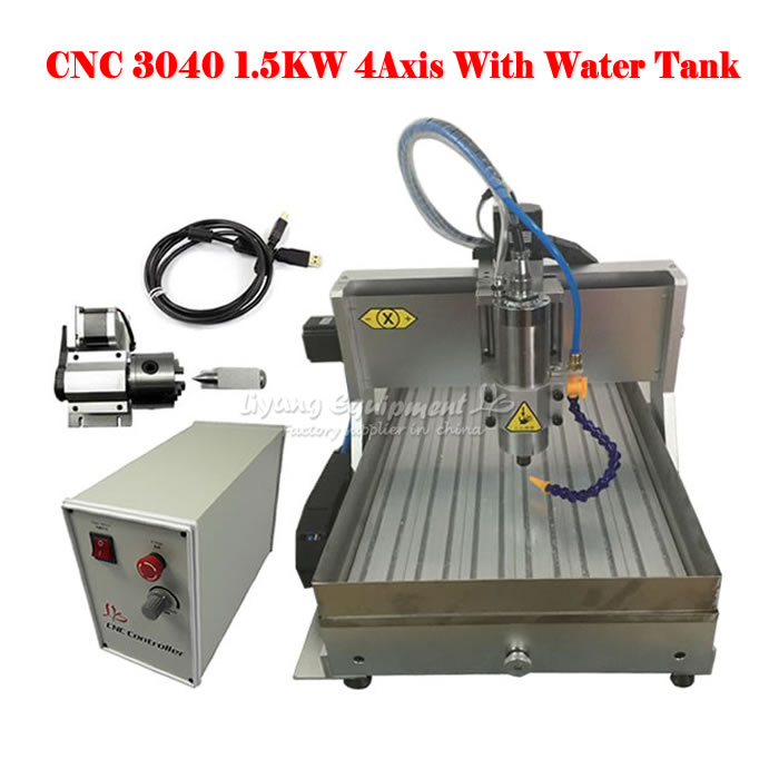USB Engraving machine 3040 1.5KW 4axis CNC Drilling and Milling Machine with water tank  цены