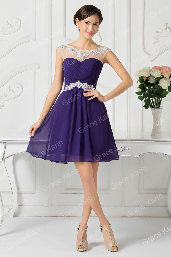 Barato Vestidos de dama de honor Bajo 50 gracia Karin Royal azul ...