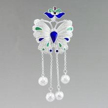 Dangle 999 Sterling Silver Pendant Butterfly Necklaces Pendants Women Cloisonne Enamel Jewelry Luxury Handmade bijoux femme 2019