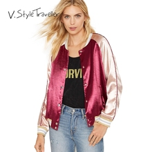 Bomber Jacket Women Golden Red Color Block Casual Suit High Fashion Sexy veste femme jaqueta feminina cape blaser feminino BF