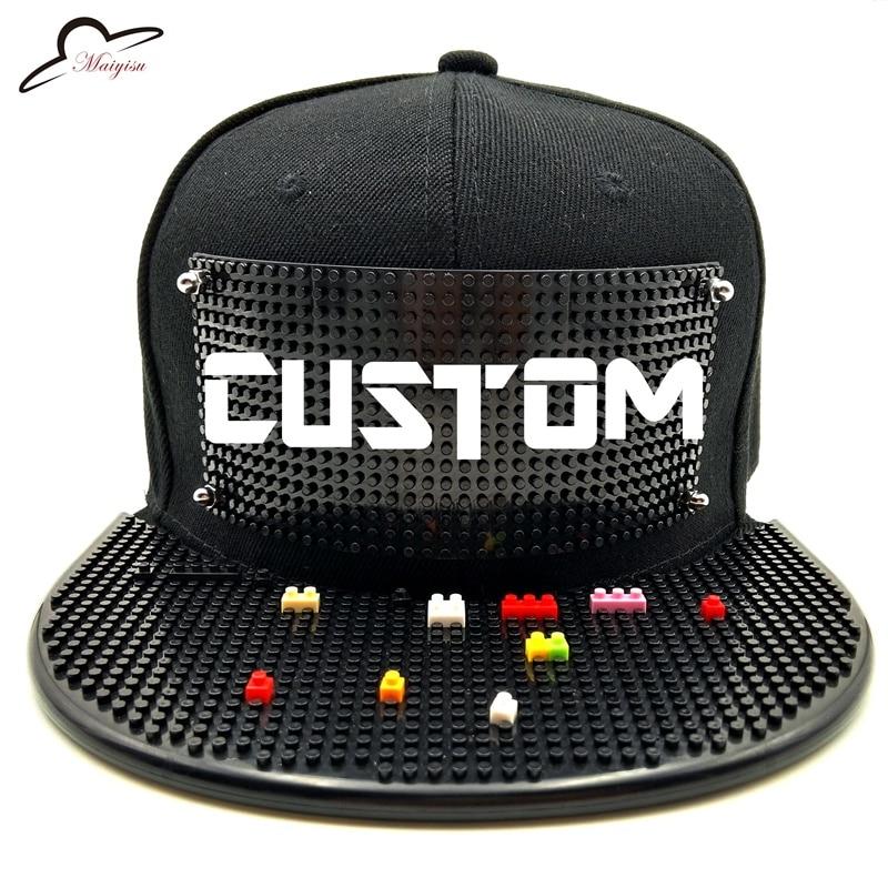 9753eda3798 Mosaics Custom LOGO Brick baseball cap Building toy customize blocks  Snapback Hats Solid Gorras Snapback Basketball