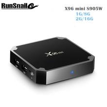 Последним Amlogic S905W ТВ коробка X96 Mini 2 г 16 г Android 7.1 ТВ коробка 4 ядра пента-Core Поддержка Беспроводной Wi-Fi подключения Декодер каналов кабельного телевидения