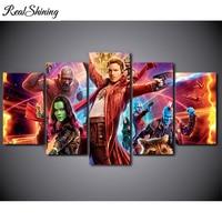 REALSHINING 5pcs Movie Rocket Guardians Of The Galaxy Character Diamond Painting Cross Stitch 5d DIY Diamond
