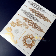 1PC Poplar Flash Metallic Temporary Tattoo Sticker Gold Silver Henna Indian Chain Sun Flower Body Makeup Jewel Waterproof Tattoo