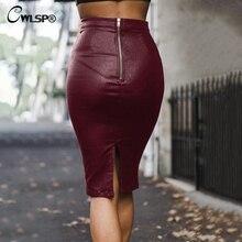 CWLSP Autumn Winter PU Thicken Midi Skirt Office Lady Pencil Leather Skirt Back Zipper Women Saia faldas mujer moda 2018 QL4171