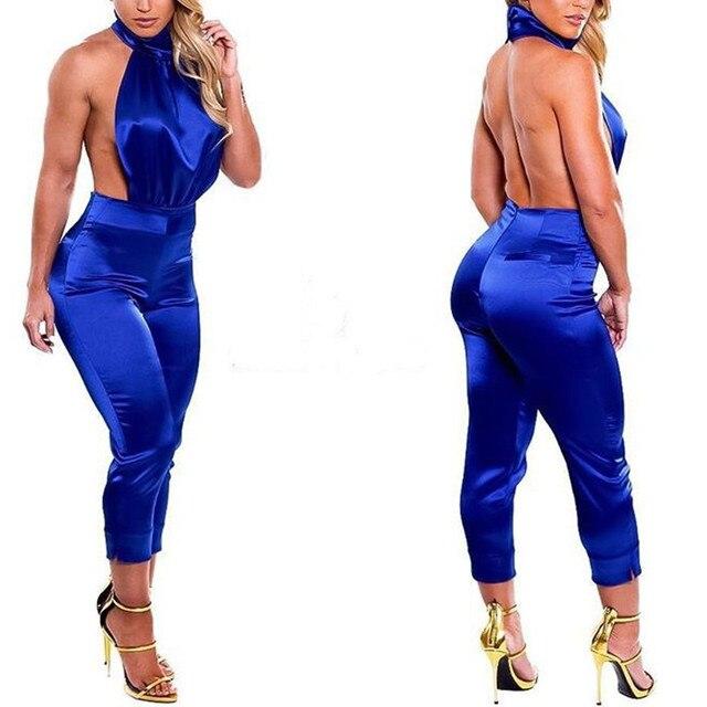 Высокое качество блестящий холтер комбинезоны пром rompers спинки комбинезоны женский клуб комбинезоны vestidos сексуальный
