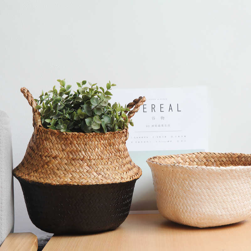 Handmade Seagrass Cesto de Armazenamento Saco De Armazenamento Cesta De Vime Cesta de Palha Escrever Branco Vaso de Flores e Plantador Do Jardim