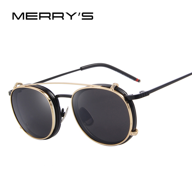 262c806470e MERRY S Women Double beam Sunglasses Flip Separable Lens Mirror lens Clear  lens Vintage Glasses S