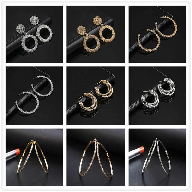 2019 nowy moda spadek kolczyki dla kobiet okrągły koło metali ciężkich oświadczenie kolczyki prezent dla Wedding Party biżuteria