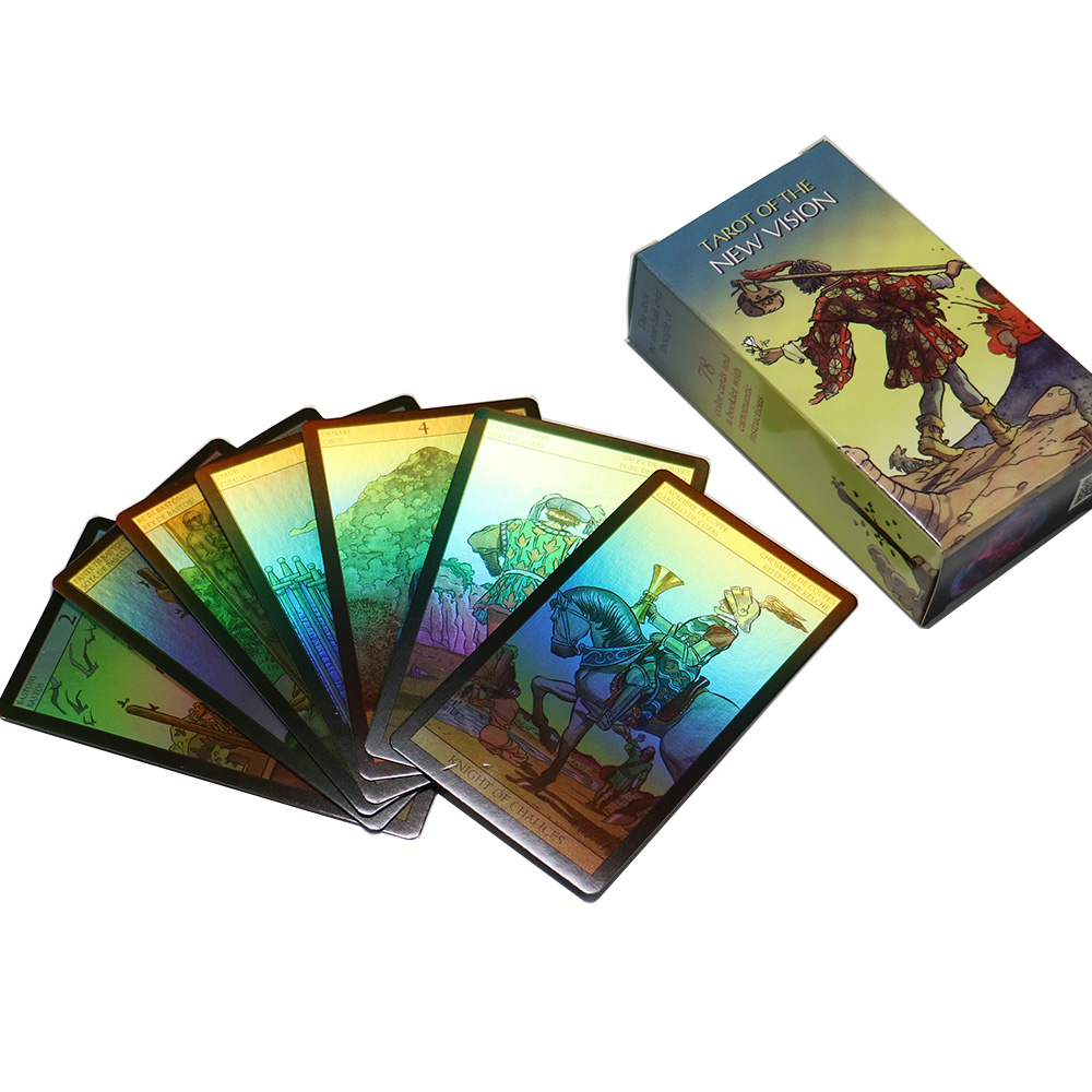 2020 Tarot Cards Shine Rider Tarot Deck Holographic Divination Fate For Women English Spanish French German Version Card Games