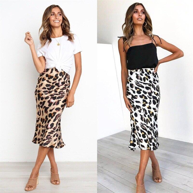 Leopard Print Skirt For Women High Waist Printing Pencil Skirt Ladies Sexy Club Skirts Mid-Calf Printing Casual Skirts