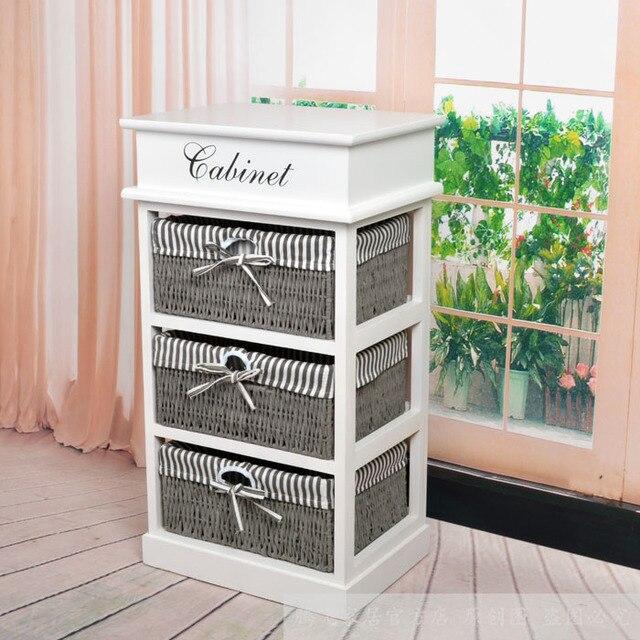 Pequeño armario de cabecera rústico de madera del gabinete muebles ...